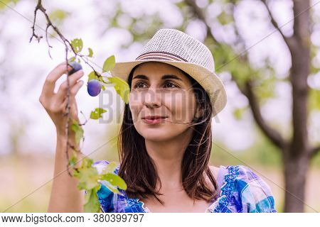 Beautiful Woman Smiling In Nature. Happy People Lifestyle. Woman Smiling In Orchard. Nature Lifestyl