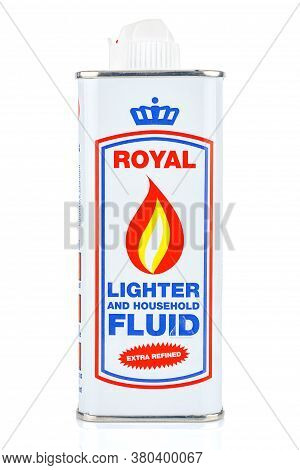 Moscow, Russia - July 22, 2020: Royal Lighter And Household Fluid Extra Refined In A Tin Bottle Isol