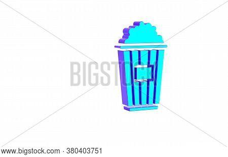 Turquoise Popcorn In Cardboard Box Icon Isolated On White Background. Popcorn Bucket Box. Minimalism