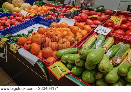 Fresh Vegetables On Farmers Market, Pint Baskets Of Organic Colorful Vegetables On The Counter At A