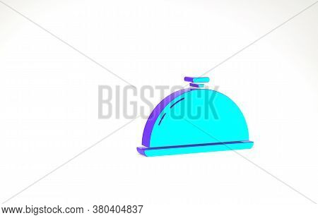Turquoise Covered With A Tray Of Food Icon Isolated On White Background. Tray And Lid Sign. Restaura