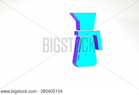 Turquoise Measuring Cup To Measure Dry And Liquid Food Icon Isolated On White Background. Plastic Gr