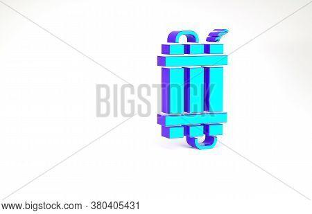 Turquoise Detonate Dynamite Bomb Stick And Timer Clock Icon Isolated On White Background. Time Bomb