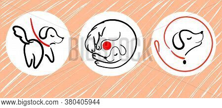 Dog Walking Service Logo Set In Line Style On Round From Leash. Happy Puppy Training Icon. Walk Pet