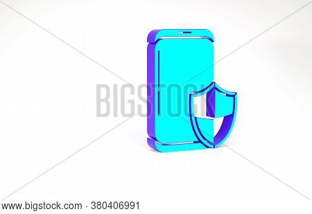 Turquoise Smartphone, Mobile Phone With Security Shield Icon Isolated On White Background. Security,