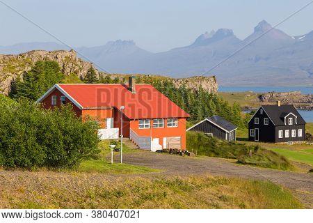 Djupivogur, Iceland - 24 August 2015: Wooden Houses Along Road Number 1, Pjodvegur Above Berufjordur