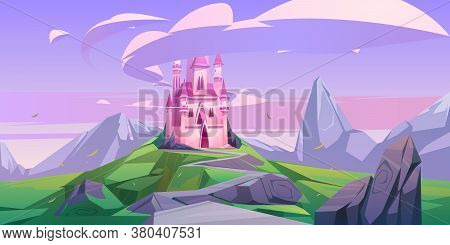 Pink Magic Castle, Princess Or Fairy Palace With Turrets On Mountain Top With Rocky Road Lead To Gat