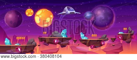 Space Game Platform, Cartoon 2d Gui Alien Planet Landscape, Computer Or Mobile Background With Space