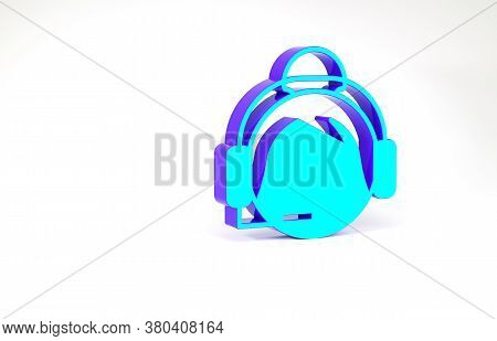 Turquoise Woman With A Headset Icon Isolated On White Background. Support Operator In Touch. Concept