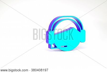 Turquoise Man With A Headset Icon Isolated On White Background. Support Operator In Touch. Concept F