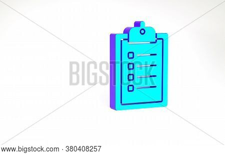 Turquoise Verification Of Delivery List Clipboard Icon Isolated On White Background. Minimalism Conc