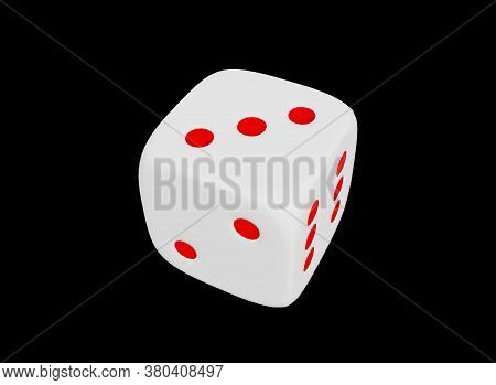Happy Cube On A Black Background. Dice. Gambling In A Casino. Game And Winnings.