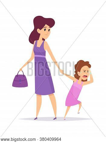 Bad Behavior. Little Girl Crying, Isolated Mother And Daughter. Cartoon Puzzled Woman And Child. Sad