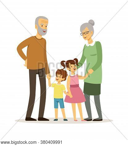 Happy Grandparents. Smiling Elderly Woman Man With Children. Family Time, Isolated Cartoon Old Peopl