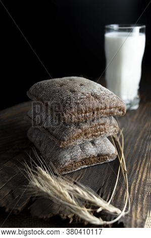 Breakfast With Black Bread And Milk. Snack With Bread And Milk. Rustic Snack.