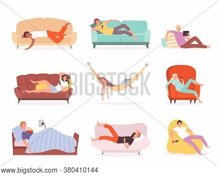 Laying People. Characters Relaxing And Watching Tv On Sofa Lying Lifestyle Comfortable Sleeping Or S