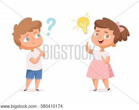 Kids Good Idea. Thinking People With Question Marks And Happy Mind Lamp Vector Characters. Illustrat