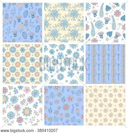 Floral Pattern. Geometrical Simple Shapes Botanical Forms Flowers Leaves Branches Nature Vector Seam