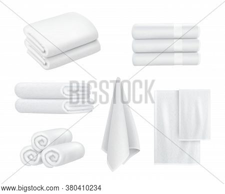 Towel Stack. Luxury Hotel Textile Items For Bathroom Sport Or Resort Spa Hygiene Items White Towels