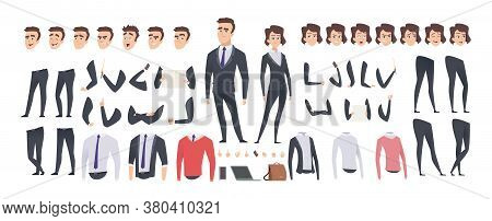 Cartoon Businessman Creation Kit. Business Woman And Man Or Managers Constructor, Body Gesture And H