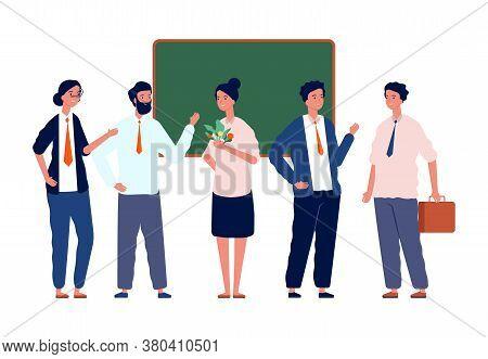 Teachers Team. Back To School, Professors Crowd Near Blackboard. Team Leaders Or Coachers, Studying