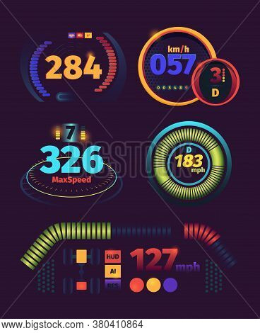 Speedometer Futuristic. Automobile Racing Speed Panel Fuel And Kilometers Indicators Dashboard Vecto
