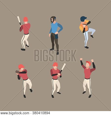 Baseball Players. Sport People Running Bases Pitcher Baseball Vector Characters Isometric In Action