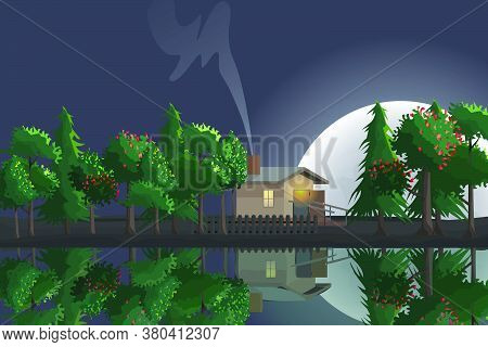 Night View Of A Forest Hut By A Lake And Full Moon In The Background. Scenery, Landscape Illustratio