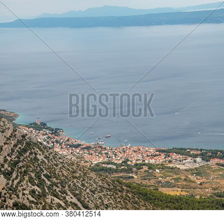 View Of The Bol Town In The Village Of Brac, Seen From A Distant From The Vidova Gora Mountain