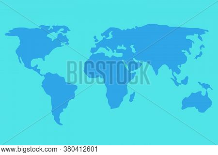 Simple Blue World Map Image. World Map Layout, View In Flat Illustration Design.