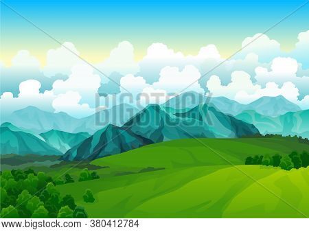 Landscape Green Meadows With Mountains. Summer Valley View. Landscape Hill Field. Wild Nature Grass