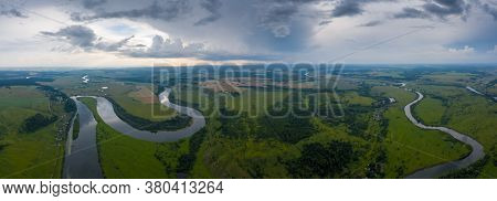 Aerial panorama of the river of Sylva in Perm Krai in Russia