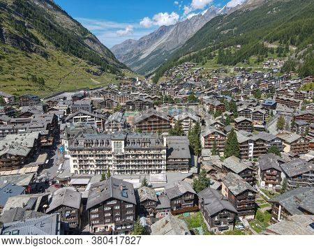 Areal View Of The Town Of Zermatt In The Swiss Alps