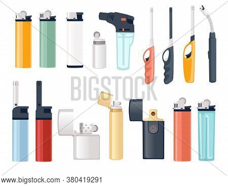 Set Of Metal And Plastic Lighter For Kitchen Or Cigarette Gas Lighter Smoker Accessory Flat Vector I