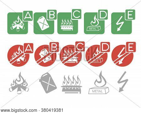 Set Of Safety Labels Permissions And Prohibitions Where To Use A Fire Extinguisher Flat Vector Illus