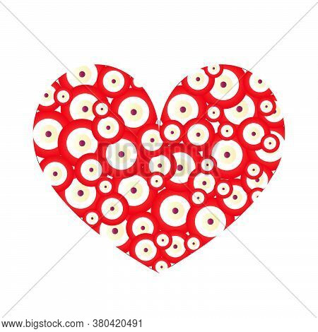 Big Heart Vector With Small Evil Eyes Inside - Love Card - White Background