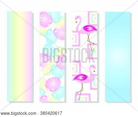 Four Bookmarks Vector Set With Flamingos And Tropical Leaves In Pastel Colors