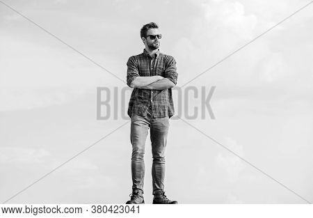 Fashion Concept. Macho Man Unshaven Face. Sexy Man Sky Background. Male Fashion Style. Looking Very