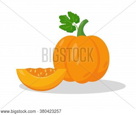A Piece Of Pumpkin And Whole Pumpkin On White Background. Vector Icon Illustration.