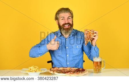 Could Not Be Better. Pizza Party Concept. Beer And Food. Dinner At Pub. Hungry Man Going To Eat Pizz
