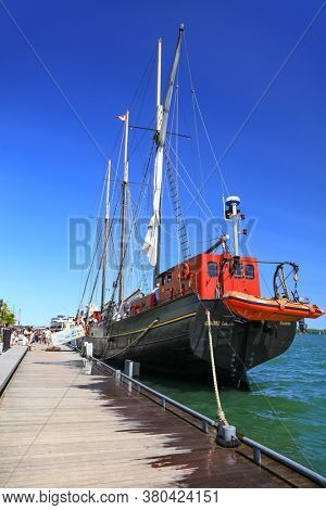 TORONTO / CANADA - JUNE 22. 2019: Toronto Inner Harbour is used by pleasure boats ,tour boats and commercial vessels.