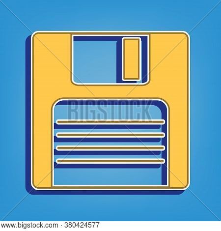 Floppy Disk Sign. Golden Icon With White Contour At Light Blue Background. Illustration.