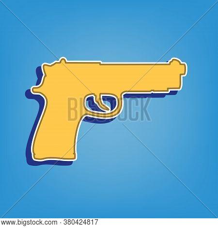 Gun Sign Illustration. Golden Icon With White Contour At Light Blue Background. Illustration.