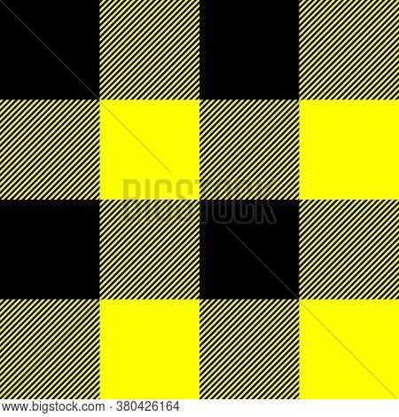 Tartan Plaid. Scottish Pattern In Black And Yellow Cage. Scottish Cage. Traditional Scottish Checker