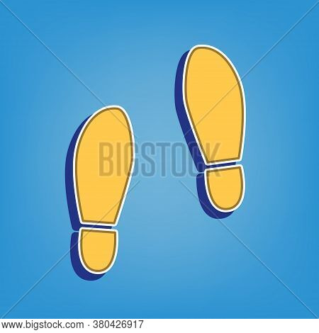 Imprint Soles Shoes Sign. Golden Icon With White Contour At Light Blue Background. Illustration.