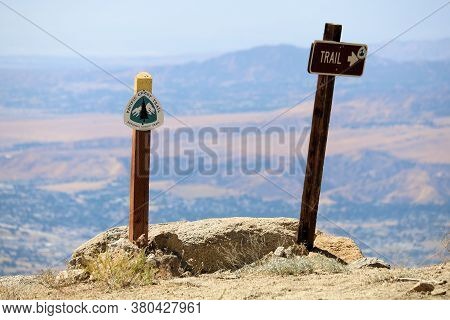 August 15, 2020 In San Jacinto, Ca:  Pct Trail Signs Overlooking The Desert Including The Town Of Ba