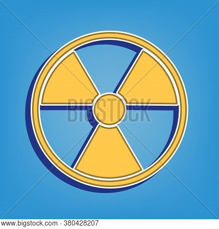 Radiation Round Sign. Golden Icon With White Contour At Light Blue Background. Illustration.