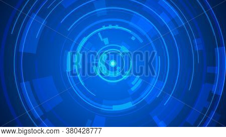 Circle Blue Technology Hi-tech Dark Background. Abstract Graphic Digital Future Concept Design.