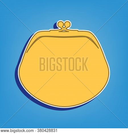 Purse Sign Illustration. Golden Icon With White Contour At Light Blue Background. Illustration.