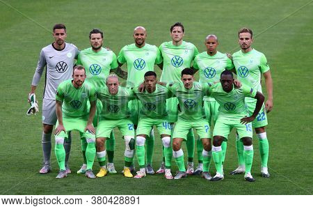 Kyiv, Ukraine - August 5, 2020: Vfl Wolfsburg Players Pose For A Group Photo Before Uefa Europa Leag